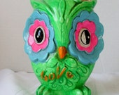 Vintage Owl Bank Psychadelic Chalkware Green