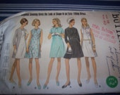 Vintage Butterick 5307 from 1960s Bust 40 Size 18 Diagonal Seaming A-line Dress Pattern
