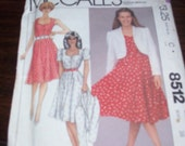 McCalls 8512 dress and jacket sweetheart neck bust 38 pattern