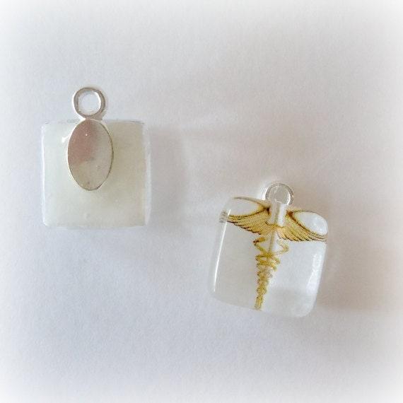 Medical ID Charm - Gold Caduceus