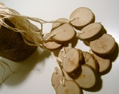 210 Hang Tag Blanks Unfinished Wood Tree Branch Slice 1 inch  tags