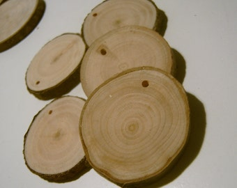 30 Assorted  Blank Tree Branch Slices 1.5 to 2 inch With Drill Hole