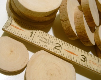 30  Tree Branch  Slices Tree Cookie No Bark Wood Blanks 1-2 inch
