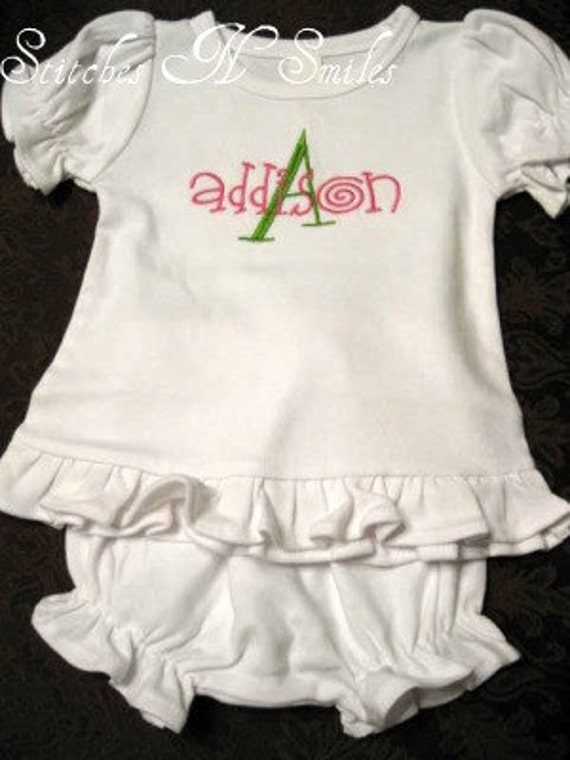 Custom Personalized Monogrammed Ruffle Bloomer Outfit Great for Multiples