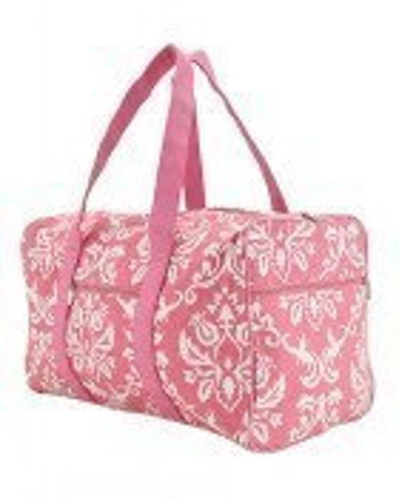 NEW Custom Personalized Damask Duffle Pink and White, Monogram Included in Price