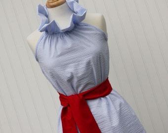 Janie...Women's Seersucker Easter Ruffler Dress with Removable Sash, Beach Dress