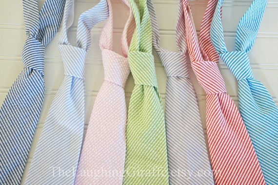 Custom Listing for paulosimo - Simply Seersucker...Classic Mens Tie...by The Laughing Giraffe