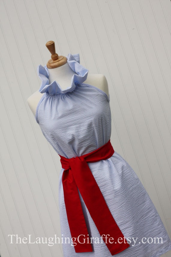 Custom Listing for Tiffany- NEW - Janie...Women's Seersucker Ruffler Dress with Removable Sash, Beach Dress