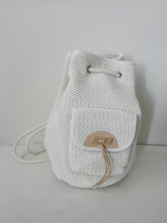 90s cotton mesh drawstring backpack