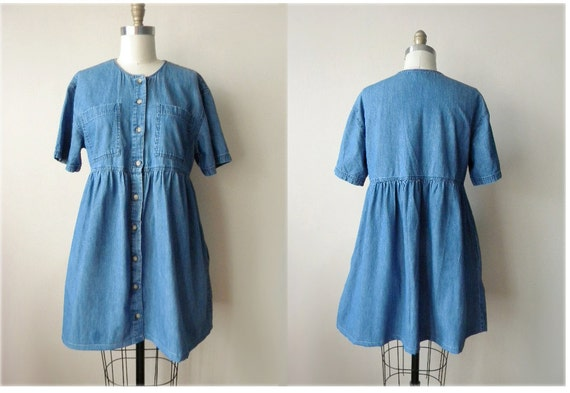 RESERVED 90s M/L denim button down dress