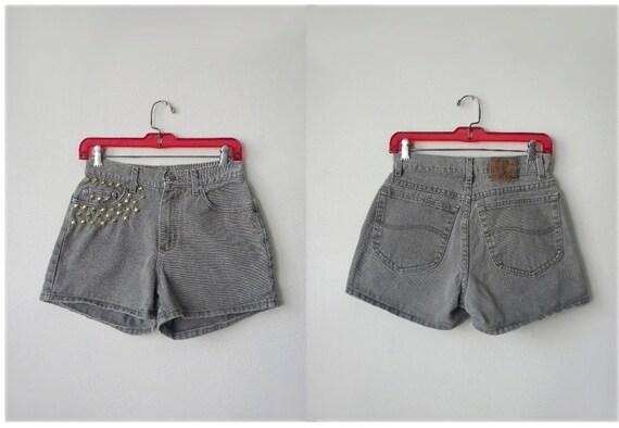 RESERVED SALE 90s M Lee Riveted high waisted gold studded olive denim shorts