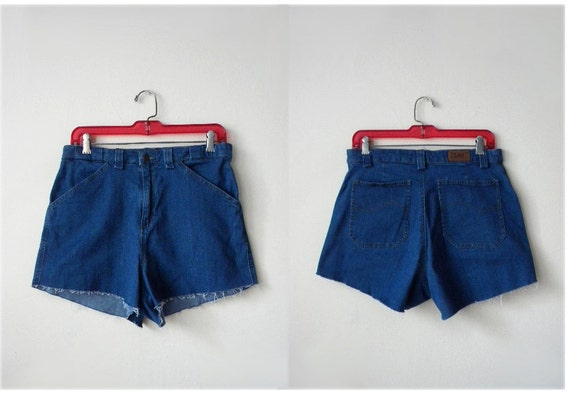 SALE 90s M Lee high waisted cut off stretch denim shorts