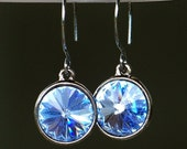 Vibrant Light Sapphire Crystal and Oxidized Sterling Silver Earrings