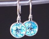 Glistening Round Faceted Swiss Blue Topaz Gemstones and Sterling Earrings