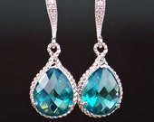 Teal Crystal Teardrops Framed in Silver, Hanging From French Jeweled Earrings