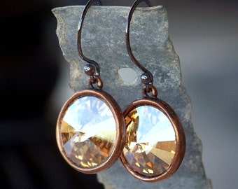 Antique Copper and Golden Shadow Swarovski Crystal Dangle Earrings