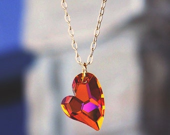 Wild Heart, Gold and Tangerine Swarovski Crystal Necklace