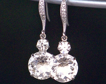 Silver and Sparkling Clear Swarovski Crystal Dangle Earrings