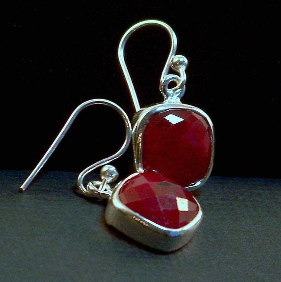 Genuine Rough-Cut Square Faceted Ruby Gemstone Dangle Earrings