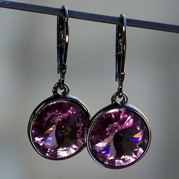 Amethyst Crystal Sparkle Earrings in Gunmetal