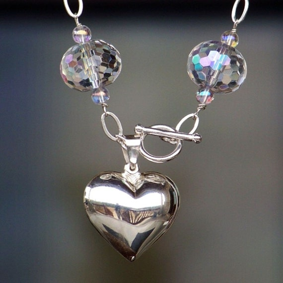 Crystal and Quartz Charm Bracelet with Large Sterling Silver Puff Heart Charm