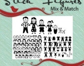 STICK FIGURE PEOPLE -Mix and Match - Vector Art Svg Eps Ai Gsd Cricut Vinyl Digital Download