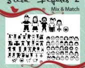 Stick Figure People 2 - Mix and Match - Vector Art SVG EPS Ai GSD Clip Art Vinyl Images Digital Download