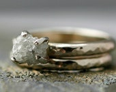 Prong-Set Rough Large Diamond Engagement Ring and Wedding Band in 14k Rose, White or Yellow Gold- Size E Diamonds