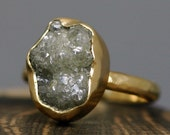 Huge Rough Diamond Engagement Ring in 18k Gold