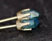 Little Aqua Aura Quartz Points in Textured 14k Yellow Gold Earrings