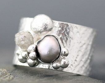Raw Diamond and Steel Grey Pearl in Textured Sterling Silver Ring