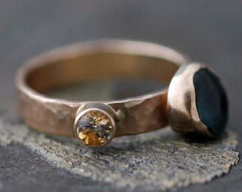 Custom 14k Gold Stacking Birthstone Ring- Rough and Cut Gemstones