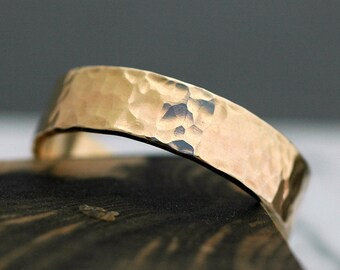 14k Gold Wedding Band with Hammered Finish- Custom Made