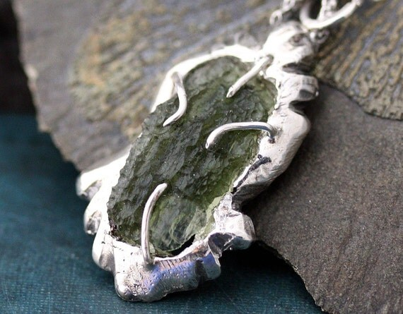 Moldavite in Sterling Silver Necklace