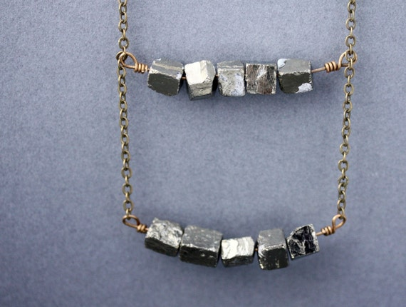 Items similar to Pyrite Cube Necklace- Double Decker on ...