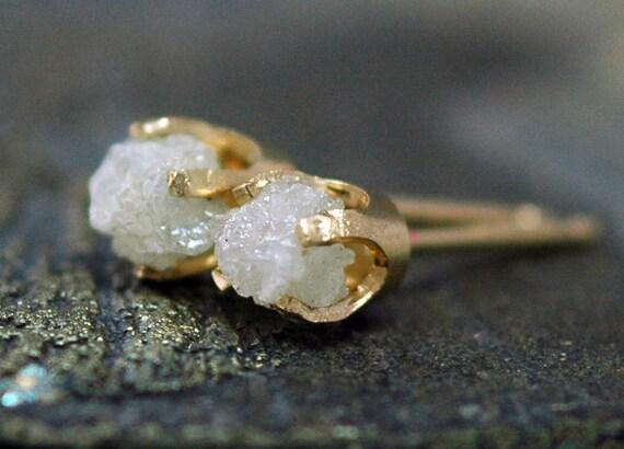 Rough Diamonds in 14k Yellow Gold Earrings- Overnight Shipping