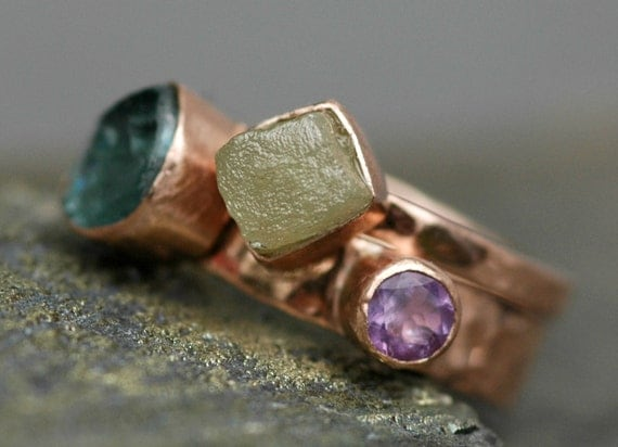 Rose Gold Wedding and Engagement Ring set with Rough Diamond and Gemstones