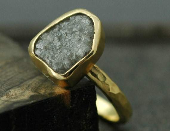 Huge Raw Diamond and Recycled 18k Gold Engagement Ring- Custom Made to Order