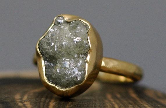 Huge Rough Diamond Engagement Ring in 18k Gold