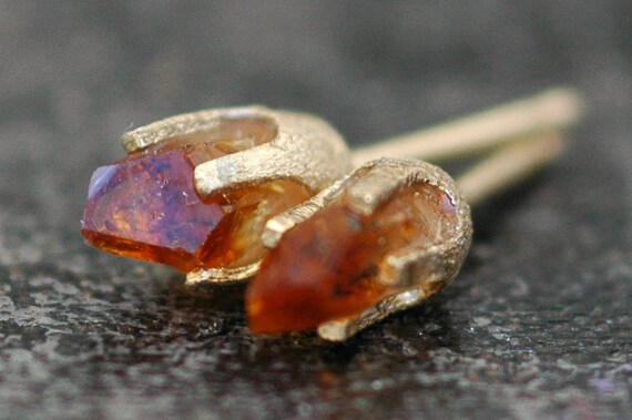 Little Citrine Points in Textured 14k Yellow Gold Earrings
