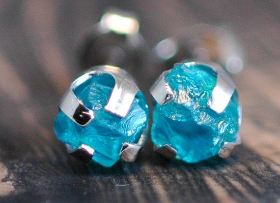 Bright Blue Apatite Rough Crystals in Yellow Gold Earrings- Reserved