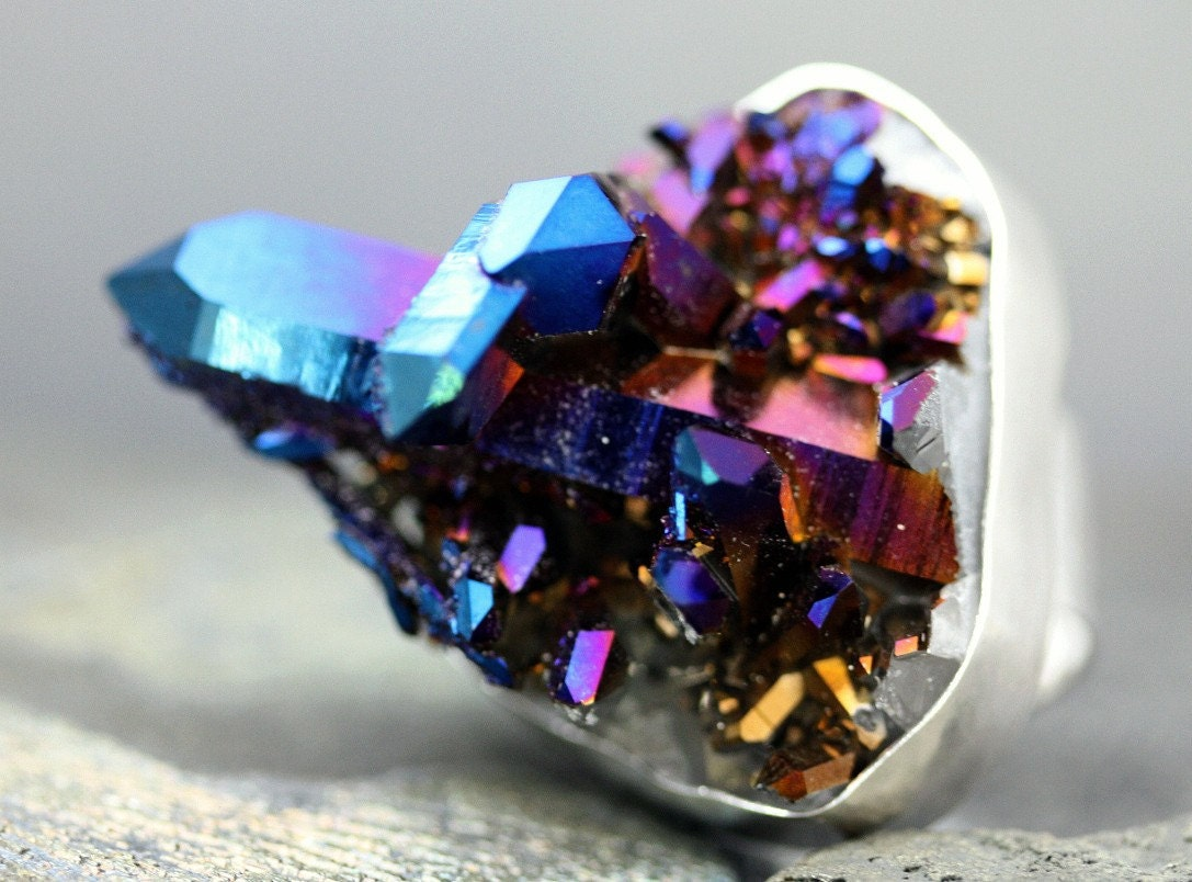 Cobalt Aura Quartz Crystal Ring Custom Made