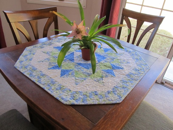 Handmade Blue-Green Floral Quilted Table Topper