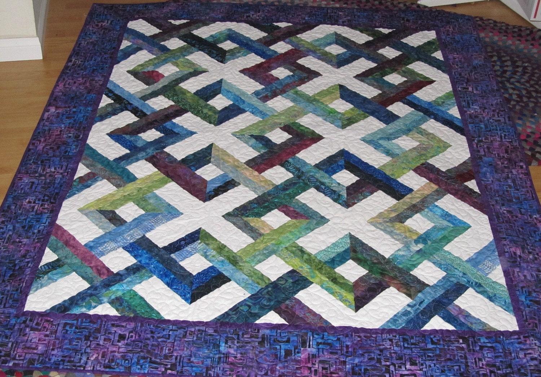 Blue Hawaii Lattice Batik Lap Quilt