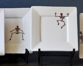 Skeleton Plates Appetizer or Dessert Set of 4 Featured in CELEBRATE Magazine