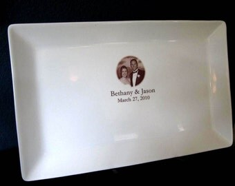 RUSH LISTING Photo Guest Book Wedding or Anniversary Platter up to 75 Signatures