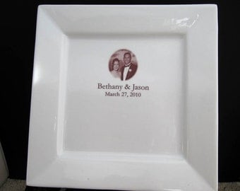 Photo Guest Book Signature Platter for Wedding or Anniversary up to 50 Signatures