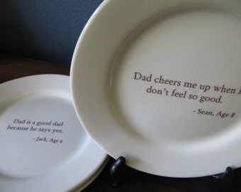 Personalized Plates with Your Words Set of 4 Appetizer Dessert