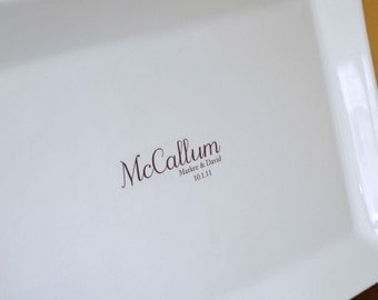 Wedding Monogram Guest Book Signature Platter with your Last Name up to 100 Signatures