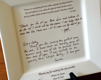 Personal Letter To Parents On A Platter Wedding Gift From Bride And Groom